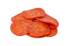 Os Pepperoni do corte foto de stock