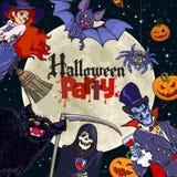 Os personagens de banda desenhada de Dia das Bruxas no fundo da Lua cheia com texto Dia das Bruxas Party Vetor Ilustração Royalty Free