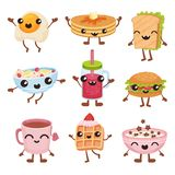 Os personagens de banda desenhada do fast food ajustam-se, pratos deliciosos e as bebidas com caras de sorriso vector a ilustraçã ilustração stock