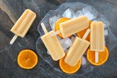 Os picolés alaranjados caseiros do iogurte em um gelo encheram a bacia fotos de stock