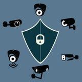 Os pictograma gráficos das câmaras de segurança video da fiscalização ajustados isolaram a ilustração do vetor Fotos de Stock Royalty Free