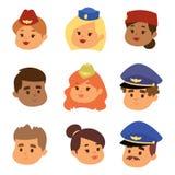Os pilotos e a comissária de bordo vector os aeromoços principais da aeromoça de ar do pessoal de pessoais do plano do caráter da ilustração royalty free
