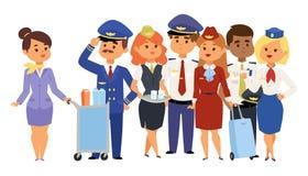 Os pilotos e a comissária de bordo vector povos dos aeromoços da aeromoça de ar do pessoal de pessoais do plano do caráter da lin ilustração stock
