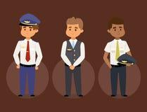 Os pilotos e a comissária de bordo vector povos dos aeromoços da aeromoça de ar do pessoal de pessoais do plano do caráter da lin ilustração royalty free