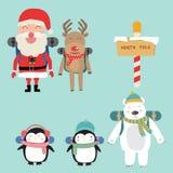 Os pinguins do urso polar do duende e da rena de Papai Noel backpack ao nenhum ilustração do vetor