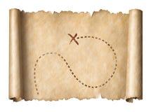 Os piratas idosos enrolam o mapa com lugar marcado do tesouro fotos de stock