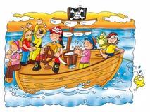 Os piratas no mar no caravel, pescando Imagem de Stock