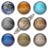 Os planetas do sistema solar, ajustaram botões Foto de Stock