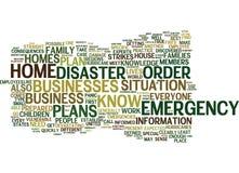 Os planos de emergência são importantes para seu conceito da nuvem da palavra da casa e do negócio ilustração stock