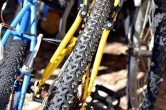 Os pneumáticos das bicicletas estacionaram Imagem de Stock