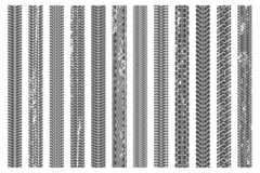 Os pneus pisam trilhas Trilha do pneu, passos teste padrão da textura do grunge e grupo sujos da ilustração do vetor do traço do  ilustração stock