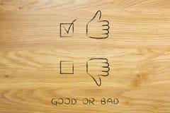 Os polegares acima ou os polegares para baixo, caso positivo tiquetaquearam Imagens de Stock Royalty Free