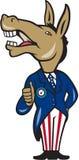 Os polegares da mascote do asno de Democrata levantam desenhos animados Fotografia de Stock Royalty Free