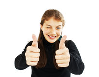 Os polegares da mostra do adolescente levantam o gesto imagem de stock royalty free