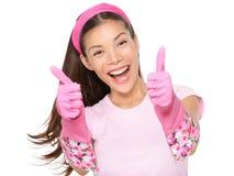 Os polegares da mulher de limpeza levantam excited Foto de Stock