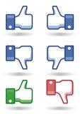 Os polegares de Facebook gostam! /dislike! Fotografia de Stock Royalty Free
