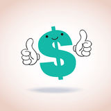 Os polegares do sinal de dólar levantam o personagem de banda desenhada da mascote Fotografia de Stock
