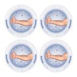 Os polegares fortes dos fãs gostam acima da ilustração do crachá do marco miliário Imagem de Stock Royalty Free