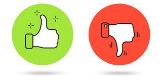 Os polegares levantam e manuseiam abaixo dos botões Foto de Stock Royalty Free