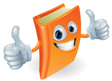 Os polegares levantam o personagem de banda desenhada do livro Fotos de Stock