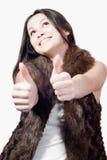 Os polegares levantam ou aprovam & mulher nova bonita isolada Fotos de Stock