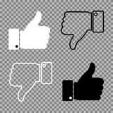 Os polegares levantam os polegares para baixo no fundo Ilustração do vetor Imagens de Stock