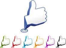 Os polegares levantam ponteiros do ícone Fotografia de Stock