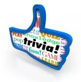 Os polegares levantam a rede do Social da parte do feedback do vencedor do jogo da trivialidade Fotos de Stock Royalty Free