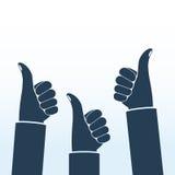 Os polegares levantam a silhueta ilustração do vetor