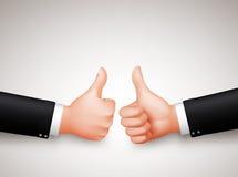 Os polegares levantam um sinal do homem de negócios Hands de dois profissionais para acordos Foto de Stock Royalty Free