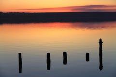 Os polos de madeira refletiram na superfície do lago de sal Fotografia de Stock