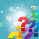 Os pontos de interrogação mostram perguntas e pedir frequentemente feitas Imagem de Stock