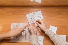 Os pontos do doutor à placa de som mãos nos cartões do exercício da terra arrendada da tabela para os sons das palavras fotos de stock royalty free