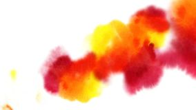 Os pontos vermelhos e alaranjados bonitos aparecem em um fundo branco As pinturas brilhantes espalham na formação do papel mancha ilustração stock