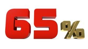 os por cento do vermelho de 65% e o texto do ouro isolado em 3d branco rendem Foto de Stock