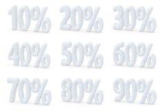 Os por cento fixam o preço do grupo eliminado da coleção das ofertas do Natal Fotografia de Stock