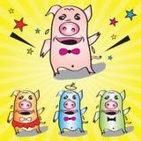 Os porcos que dançam a ilustração muito feliz do vetor Imagem de Stock Royalty Free