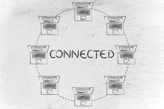 Os portáteis em um círculo deram forma à rede, com o texto conectado Fotografia de Stock