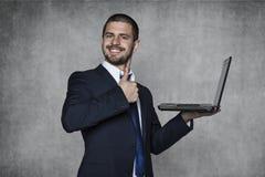 Os portáteis são o futuro no negócio foto de stock royalty free