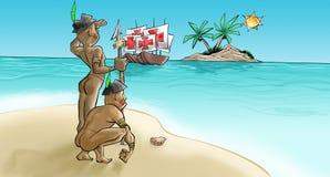 Os portuguêses chegaram Imagens de Stock
