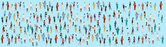 Os povos agrupam o grupo diferente da ocupação, bandeira dos trabalhadores da raça da mistura dos empregados ilustração stock