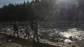 Os povos andam ao longo da ponte de log caída sobre o rio cursos da família Ambiente dos povos por montanhas, rios, córregos filme