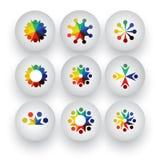 Os povos coloridos, crianças, coleção dos ícones dos empregados ajustaram - o vect Fotos de Stock Royalty Free
