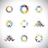Os povos coloridos, crianças, coleção dos ícones dos empregados ajustaram - o vect Imagens de Stock Royalty Free