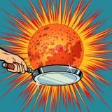 Os povos com uma frigideira fritam o planeta Marte ilustração do vetor