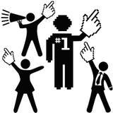 Os povos comemoram o cursor da mão do sucesso do número 1 Foto de Stock Royalty Free