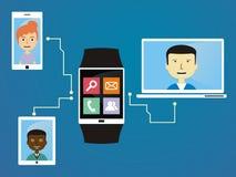 Os povos comunicam-se através de wearable Imagens de Stock