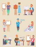 Os povos criativos do desenhista novo do artista do vetor no estúdio durante a dor trabalham Retrato que tira povos criativos do  Imagem de Stock