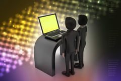 os povos 3d fazem a discussão com portátil Fotografia de Stock
