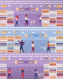 Os povos da ilustração do vetor visitam o supermercado ilustração royalty free